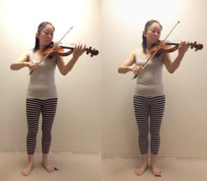 バイオリニストの演奏時の姿勢